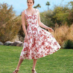 New Antonio Melani floral midi dress 8 tea length